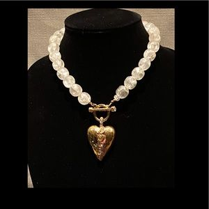Jewelry - Glass Beads & Large Heart Necklace